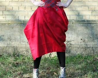 Red skirt high waist corset skirt with lace up detail, long skirt, tartan skirt cosplay skirt bustle skirt punk skirt, art skirt MASQ