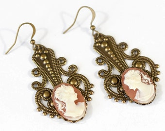 Romantic Steampunk Victorian Antiqued Gold Brass Filigree Earrings with Coffee and Cream Cameos by Velvet Mechanism