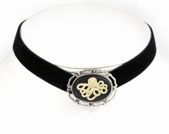 Gothic Steampunk Black Velvet Choker with Antiqued Silver Filigree Setting and Octopus Cameo by Velvet Mechanism