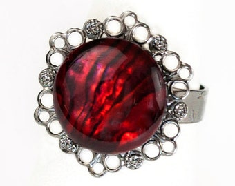 Gothic Vampire Noir Adjustable Gunmetal Filigree Ring with Dark Blood Red Paua Cabochon by Velvet Mechanism