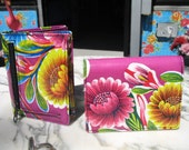 Oil Cloth Purple Trifold Wallet, Women's Floral Wallet, Credit Card Case