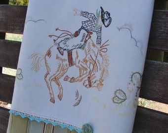Rodeo Cowpoke Cowboy Tea Towel Recycled Vintage Linen to Upcycled Dish Towel Desert Ride Horse Bucking Bronco Gift Chef Cook Kitchen Decor