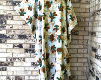 Plus Size Fleece Caftans Pine Cone Design