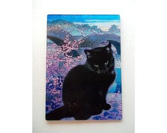 Black Cat cutting board, black cat rainbow bridge, Black cat glass, black cat art glass,cat art, rainbow cat, black cat gift,blk cat trivet