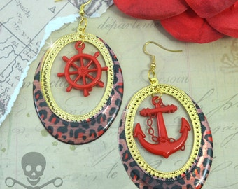 NAUTICAL ADVENTURE -RED Cheetah Print with Red Anchor and Helm Charm Hoop Earrings