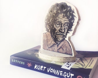 Author Bookend, Kurt Vonnegut Bookend, Linocut Print Mounted on wood, Home Decor, Shelf Art
