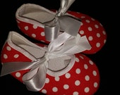 Red with White Polka Dots Baby Booties Sale 12-18 Months - Winter Baby Gift - Girls Booties - Clearance - Stocking Stuffer