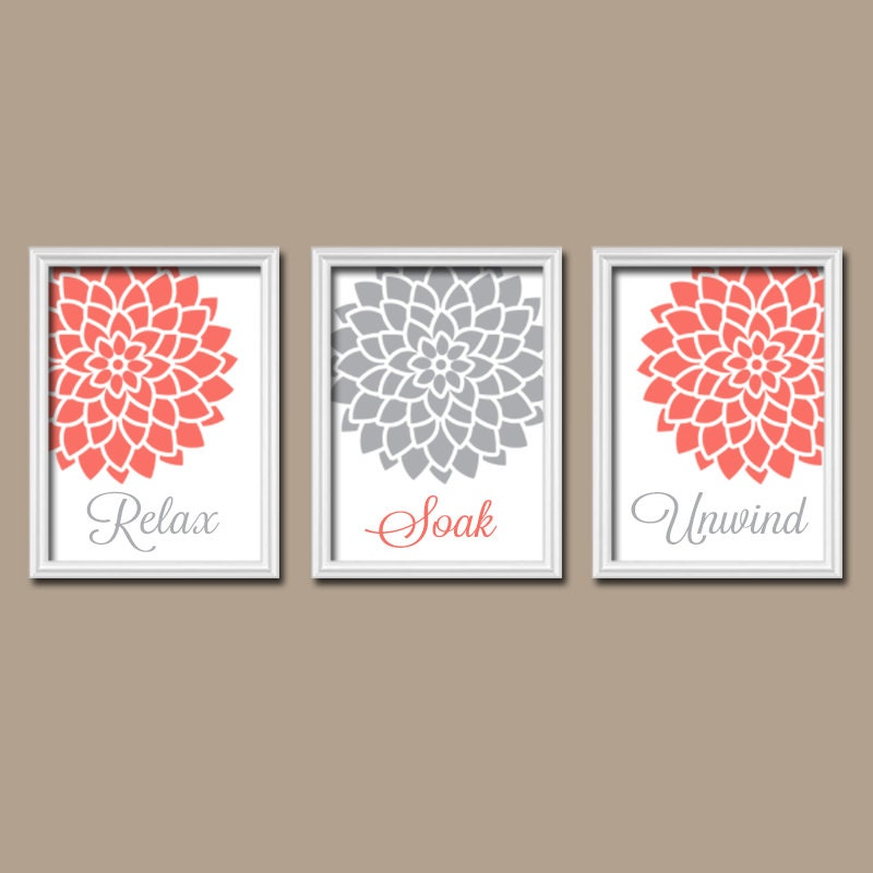 Coral gray bathroom wall art canvas or print bathroom by for Pictures for bathroom wall decor