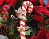 Candy-Cane Ornament with Soft Sculpture Mice on Top and Inside HAFBF