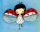 Ladybug Print Cute Girl Children Nursery Garden Wall Art ---Dancing Dots