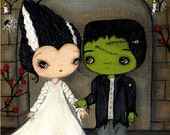 Bride And Frankenstein Print Halloween Wall Art Room Decor Wedding Print