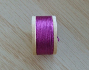 Vintage Pure Silk Buttonhole Twist Thread Spool 10 yards Size D Magenta