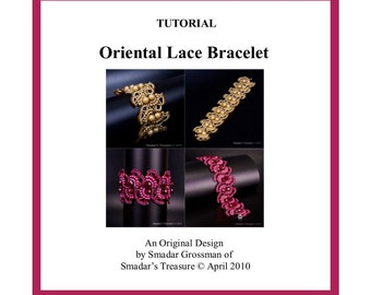 Tutorial, Oriental Lace Beaded Bracelet. Beading Pattern with Bugle and Pearl Beads. Beadweaving Instructions. Beadwork. Off Loom Pattern