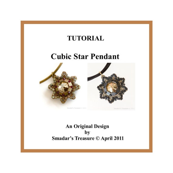 Beading Tutorial, Cubic Star Pendant. Beading Pattern with Tila Beads, Crystal Rivoli and Seed Beads. Christmas Decoration Pattern. Beadwork