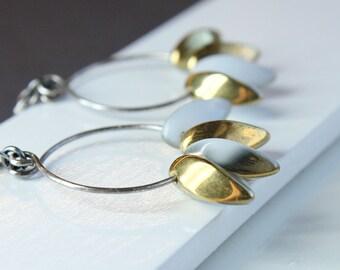 Long Glass Earrings Oxidized Silver Gold Hoop Earrings Accessories Dangle White Handmade Jewelry Glass Jewellery Sterling Silver Accessories