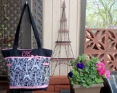 Black Eiffel Tower Paris Toile SALE 16% off Choose from 2 sizes Diaper bag or just great tote also great for twins