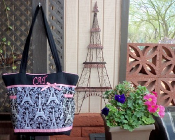 Black or pink blue creme roses or fireworks Eiffel Tower Paris Toile Diaper bag tote also great for twins Weekender Modern baby bag