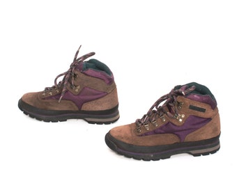 size 8.5 HIKING purple leather 80s 90s TIMBERLAND lace up ankle work boots