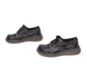 size 9.5 PLATFORM black vegan 80s 90s GRUNGE GOTH lace up ankle boots