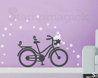 Bike Wall Decal - Bicycle Wall Decal with Flowers - Flowers Wall Art - Vinyl Wall Decal - Wall Mural - K211