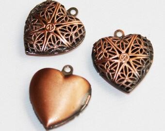 20 pcs of Antique Copper filigree Heart Locket Pendant 20x20mm, puff heart locket, texture back , locket pendant, filigree pendant