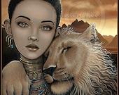 African Princess Lion Cat Fae Zariel Akachi 4X6 PRINT