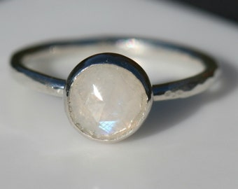 Moonstone Ring, Pinky Ring, Size 2 Moonstone Ring, Moonstone Stackable Ring, Fine SIlver Ring, June Birthstone Gift by Maggie McMane Designs