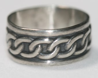 Oxidized Silver Celtic Ring , Sterling Silver Chain Ring , Wide Sterling Silver Ring, Size 6.5 Ring, Men's Ring by Maggie McMane Designs