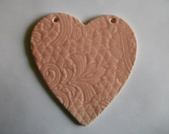 lace embossed ceramic tea rose pink heart