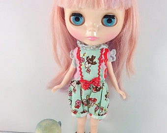 Roses and Swallows in Aqua, Cute Romper for Blythe, Licca, Dal, Neemo S and Other Similar Sized Dolls