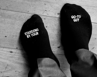 "Groomsman or best man gift ""Standing By, Your Go-To Guy™ Wedding Gift, Mens Wedding Socks Gift from Bride, Groom Wedding Attire Accessory"