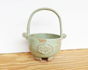Stoneware Tall Handled Planter Pot in Pistachio Shino Glaze