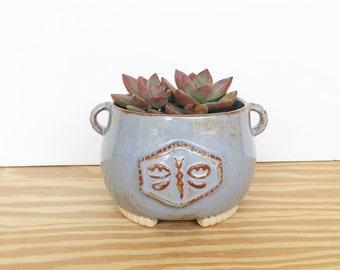 Ceramic Stoneware Dragonfly Succulent Planter Pot in Blue Shino Glaze
