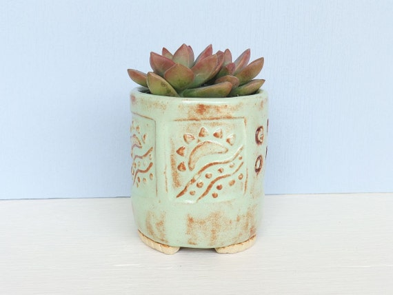 Stoneware Succulent Planter Pot in Pistachio Green Shino Glaze with Rising Sun Stamp