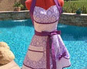 Womens Aprons, Dandy Damask Sassy Apron with Petticcoat, Petite Paris, Plus Sizes, Southern Belle, Pin Up, Bride to Be, Girls Aprons