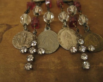 crosses and medals ~ antique rhinestone French religious medals and gemstone dangles