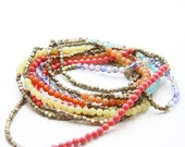 Long Color-Block Necklace with Assorted Semi-Precious Stones and Antique Brass Beads (N92)