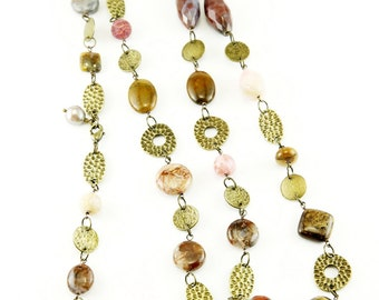 Natural Stone and Antique Brass Discs and Rings Necklace (N57)