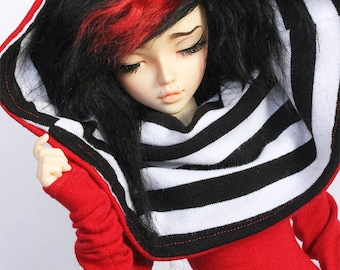 Slim MSD Doll BJD clothes Red stripe Hooded dress MonstroDesigns