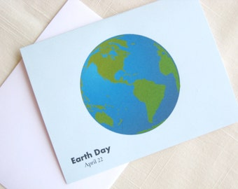 Earth Day Note Cards -  Set of 8 - World - Planet