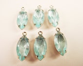 Vintage Aquamarine Glass Navette 15x7 in Silver Tone Prong Settings 1 Ring Open Backs - 6 Pieces
