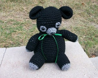 Plush Black Bear Cub - Soft, Stuffed Toy Teddy Bear - Crocheted Toy Black Baby Bear Cub - Soft Toy Teddy Bear - Ready-to-Ship