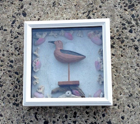 Beach Theme Home Decor Shadow Box Beach Gift: Shadowbox Called Shore Bird In The Pink Cottage