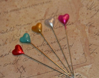 Heart Sewing Pins, Heart Pins, Heart Straight Pins, Wedding Corsage Pins, Quantity 30