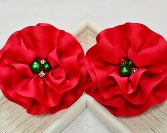 New Christmas flowers! 4pcs Handmade Silk flowers--red (FB1054)