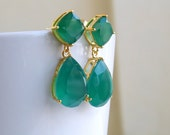Angelina Jolie Inspired Emerald Green Onyx Stone Gold Dangle stud Earrings