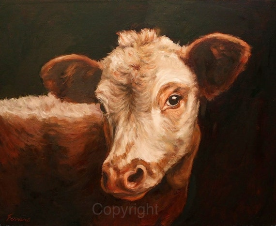 Cow gazing cow art print on canvas cow painting for Cow painting print
