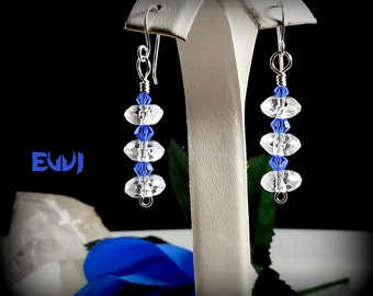 Rock Quartz Crystal with Blue Swarovski crystals Wire Wrapped with Sterling Silver Dangle Earrings