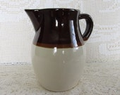 Vintage Roseville Pottery, Ohio, Pottery Pitcher, Brown and Cream, Vintage Kitchen, Collectible Pottery, Vintage Home Decor, Utensil keeper