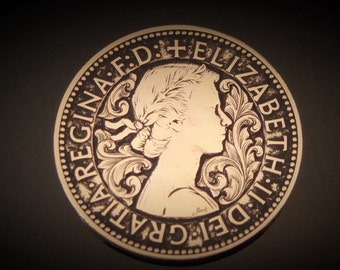 Hand Engraved Scrollwork On A UK Half Penny